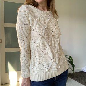 Forever 21 White Chunky Knit Pom Pom Sweater
